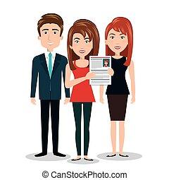 women man cv standing, human resources