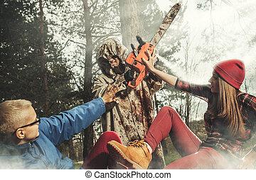 women., maniaco, fermata, uccisione, him., essi, tentando