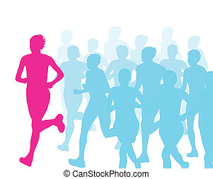 Women marathon winner finish vector background and group of runners for poster