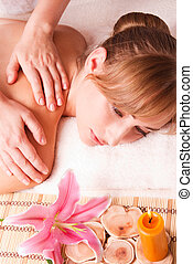 women massage body  in spa