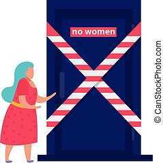 Discrimination flat composition with female character in front of closed door with no entry sign vector illustration