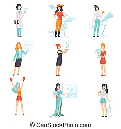 Women of Different Professions Set, Achievements of Young...