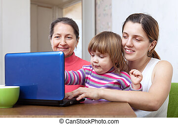 Women of three generations with netbook