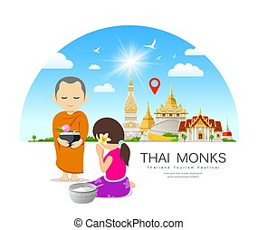 Women offering alms to Thai monks, on thailand Place of ...