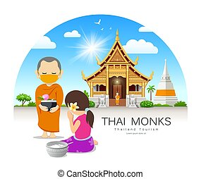 Women offering alms to Thai monks put face mask, on thailand...