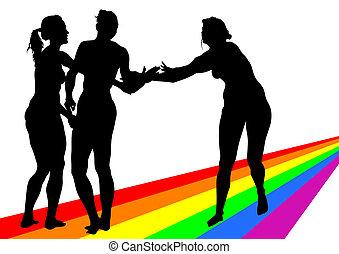 Women on a rainbow