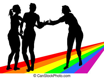 Women on a rainbow