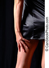women on back - women body from back with a black mini dress...