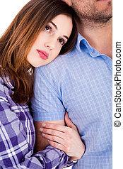 Women on focus holding his boyfriend hand