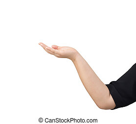 Women open hand isolated on white background. clipping path