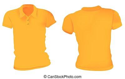 Women Orange Polo Shirts Template