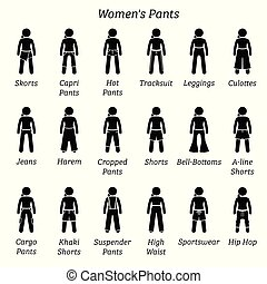 Women pants, trousers, and shorts.