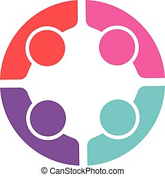 Women People logo. Vector of four persons
