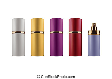 Women perfume collection of various sizes, shapes and colors, isolated on white background, clipping paths included
