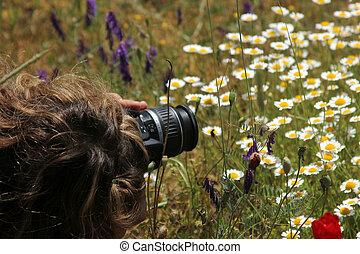 Women Photographer In The Wild Flowers