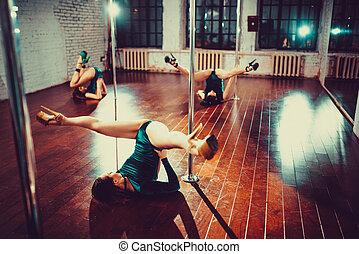 Women pole dancing