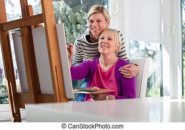 women portré, noha, vidám anya, festmény, és, lány, mosolygós