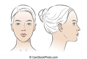 Set of woman portrait two dimension angles. Different view front, profile side view of a girl face. Vector line sketch illustration.