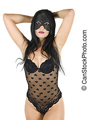 Women posing in black lingerie with mask