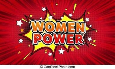 Women Power Text Pop Art Style Comic Expression. - Women...