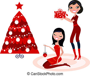 Women preparing christmas decoration. Vector retro Illustration.