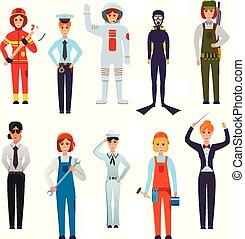 Women Professions Flat Characters Set