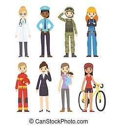 Women professions - Set of diverse women of different ...