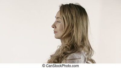 Women profile and front view - Side view of woman moving her...