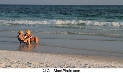 Women Reading At Beach