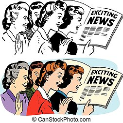 Women Reading Exciting News - A group of women read an...