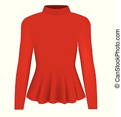 Women red blouse long neck