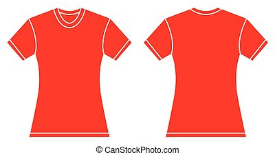 Women Red Shirt Design Template