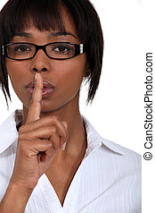 Women requesting silence