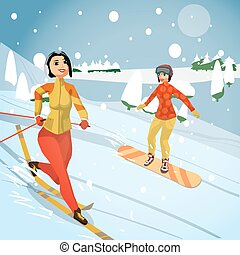 Women ride a mountain on a snowboard and skiing on a snowy day. Winter sports vacation concept. Flat vector illustration