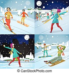 Women ride a mountain on a snowboard and skiing on a snowy day. Sledding and playing snowballs. Winter sports vacation concept. Flat vector illustration