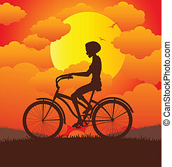Women riding a bicycle.