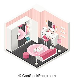 Women room isometric icon set