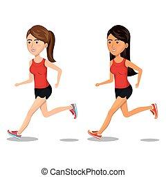 women running characters icon