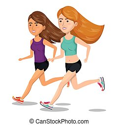 women running characters icon