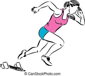 women running illustration