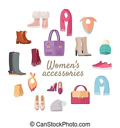 Women s Accessories Isolated on White. Vector Set