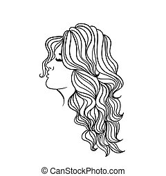 Women s hairstyle with long hair. Black outline on a white background. Vector graphics.