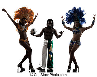 women samba dancer and soccer player man silhouette