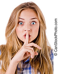 Women says ssshhh to maintain silence on a white background