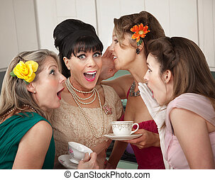 Women Share Secrets - Group of four excited housewives in a ...