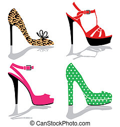 Womens colorful shoe collection, four pairs high heels.