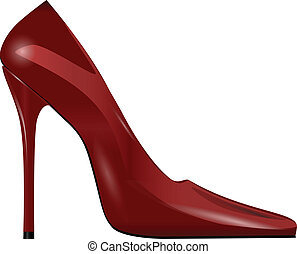 Women Shoes - Red female shoes with high heels. Vector...