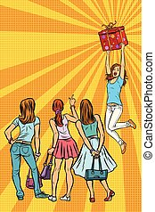 Women shoppers look at the girl with a gift. Pop art retro vector illustration kitsch vintage