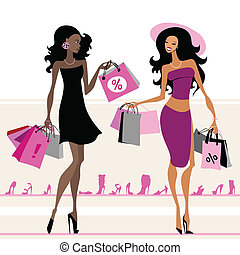 Women shopping bags - Women with shopping bags. Vector...