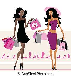 Women shopping bags - Women with shopping bags. Vector ...